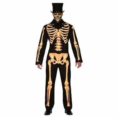 Carnaval zwart/oranje skelet verkleed kostuum heren