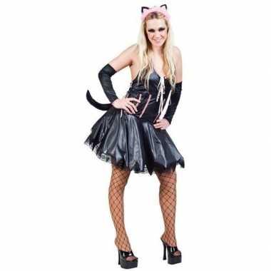 Carnaval zwart roze verkleedset kat poes dames kostuum