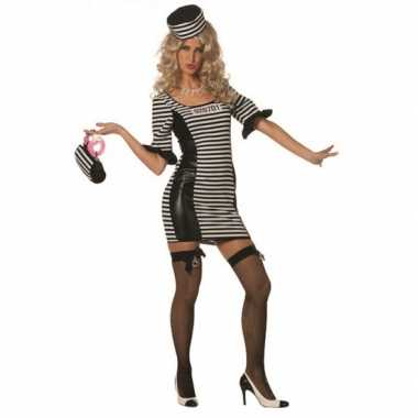Carnaval  Zwart wit boeven kostuum jurkje