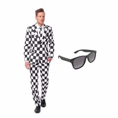 Carnaval zwart/wit geblokt heren kostuum maat (s) gratis zonnebril