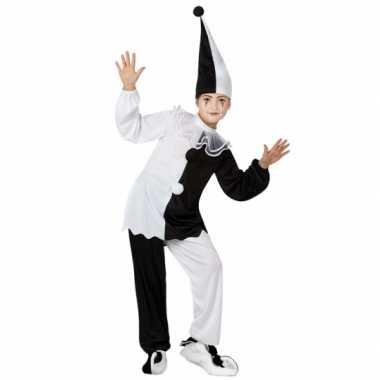 Carnaval  Zwart wit pierrot clown kostuum