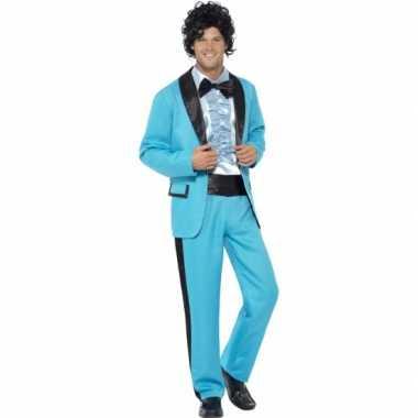Disco carnaval kleding blauw heren kostuum