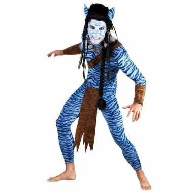 Heren Blauwe jungle strijder carnaval kleding kostuum