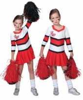 Carnaval cheerleader kostuum jurkjes rood wit