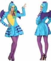 Carnaval dierenkostuum blauwe draak verkleed kostuum jurk dames