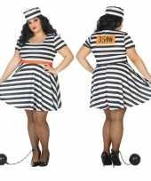 Carnaval grote maten gevangene boef bonnie verkleed kostuum dames