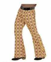 Carnaval heren hippie broek retro print maat xxl kostuum