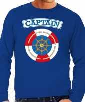 Carnaval kapitein captain verkleed sweater blauw heren kostuum