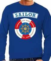 Carnaval zeeman sailor verkleed sweater blauw heren kostuum