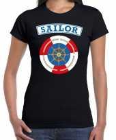 Carnaval zeeman sailor verkleed t kostuum zwart dames